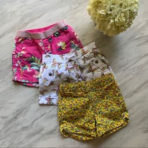 LOT of 3 pair of GAP shorts floral and butterfly.
